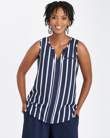 Contempo Printed Stripe Stud Top Navy