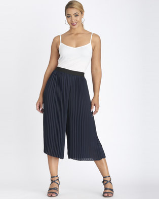 Contempo Pleated Crop Pants Navy