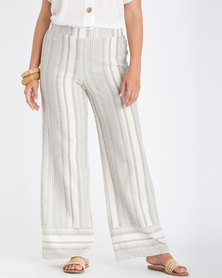 Contempo Stripe Wide Leg Pants  Off White