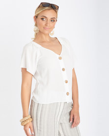 Contempo Plain Crinkle Top Off White