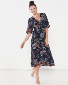 Revenge Kimono Sleeve Wrap Dress Navy