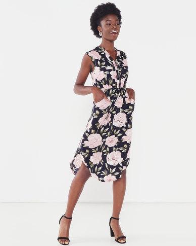 Revenge Zip Front Floral Dress Navy & Pink