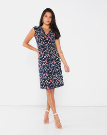 Revenge Mid Length Shift Dress Navy