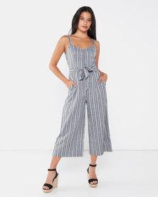 Revenge Linen Striped Jumpsuit Grey