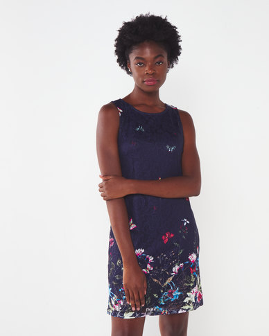 Revenge Lace Print Dress Navy