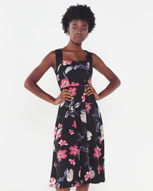 Revenge Flared Floral Dress Black