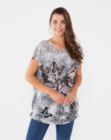 Revenge Short Sleeve Butterfly Top Grey