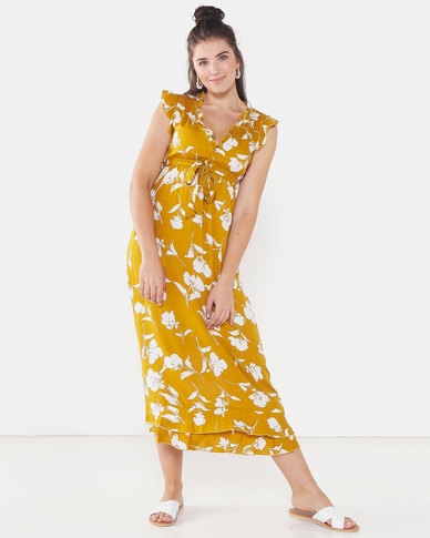Revenge Short Sleeve Belted Maxi Dress Mustard
