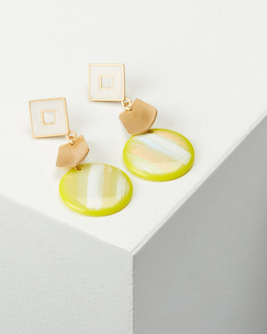 You & I Envy Drop Earrings Lime