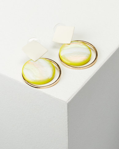 You & I Abstract Drop Earrings Lime