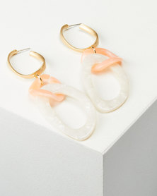 You & I Link Drop Earrings Orange