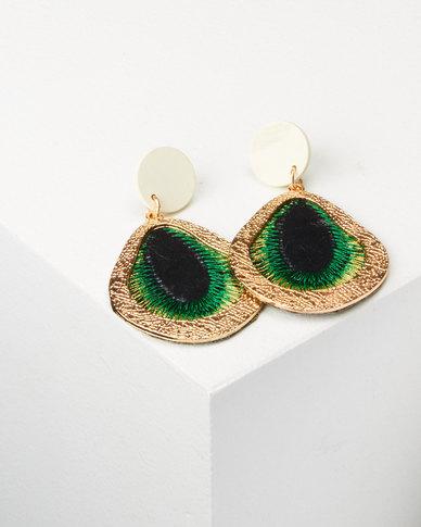 You & I Statement Drop Earrings Green