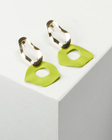 You & I Warp Drop Earrings Lime