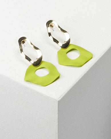 You & I Warp Drop Earrings Lime