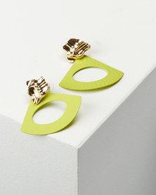 You & I Texture Drop Earrings Green