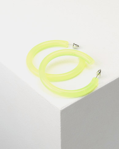 You & I Trans Hoop Earrings Lime