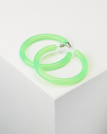You & I Trans Hoop Earrings Green
