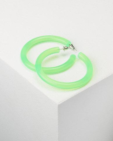 You & I Trans Hoop Earrings Green