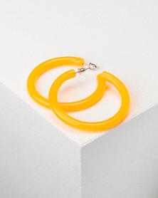 You & I Transparent Hoop Earrings Orange