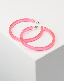 You & I Transparent Hoop Earrings Pink