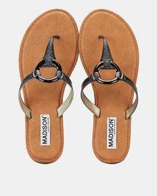 Madison Bailee Trim Detail Thong Sandals Black