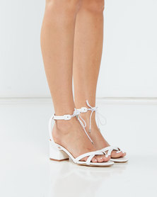 Madison Ember Low Block Heel Tie Detail Sandals White