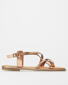 Madison Paloma Metallic Strappy Sandals Rose Gold