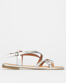 Madison Paloma Metallic Strappy Sandals Silver