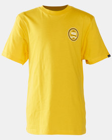 Vans Boys Checkered Side Stripe Short Sleeve T-shirt Yellow