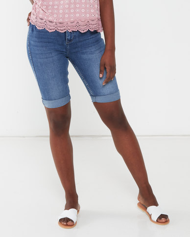 Sissy Boy Med Vintage Fazing Out High Waisted Bermuda with Fold Over Blue