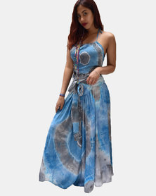 SKA Pastel Tie Dye Long Skirt Blue and Grey