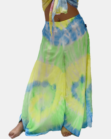 SKA Flared Pastel Tie Dye Pants Blue and Green