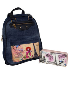 Fino Denim Backpack with Purse - Blue