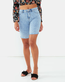Legit Marble Denim Bermuda Shorts Marble Wash Light