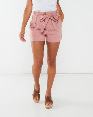 Legit Button Front Tie Detail Shorts Dark Blush
