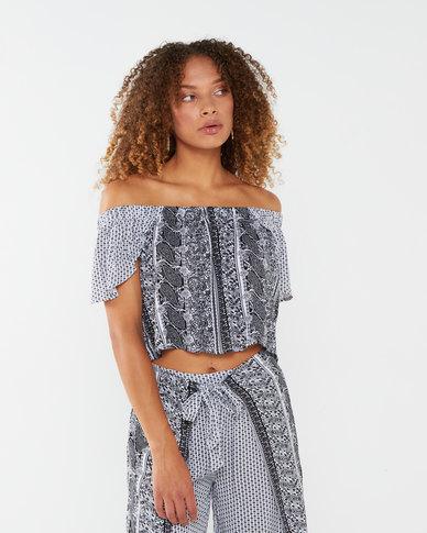 Legit Wrap Sleeve Bardot Crop Top White/Black
