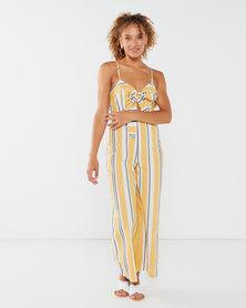 Legit Tie Front Culotte Stripe Jumpsuit Mustard