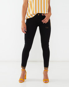Legit Gold Paint Skinny Jeans Black