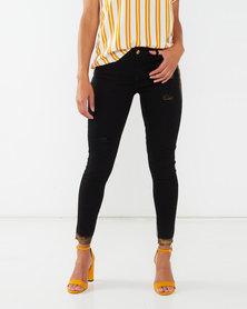 Legit Gold Paint Skinny Jeans Black