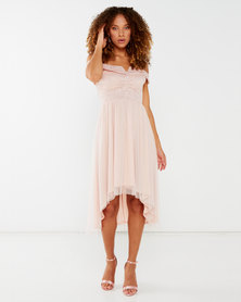 Legit Over The Shoulder V Prong Lace Prom Dress Blush