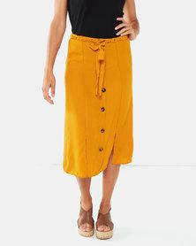 Legit Horn Button Flared Midi Skirt Mustard