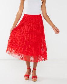 Legit Leaf Print Mesh Midi Skirt Tangerine