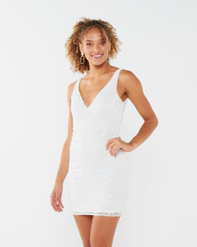 Sissy Boy Rulina Mini Beaded Dress All White