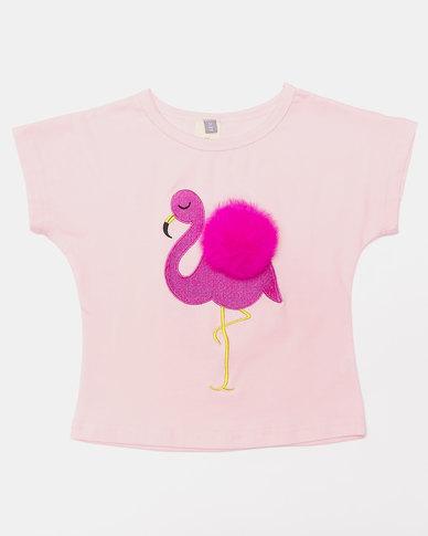 Utopia Pom Pom Flamingo Tee Pink