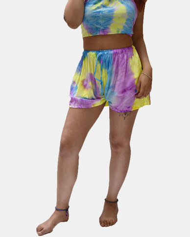 SKA Pastel Tie Dye Shorts Purple and Yellow