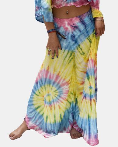 SKA Flared Pastel Tie Dye Pants Rainbow