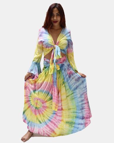 SKA Pastel Tie Dye Long Skirt Rainbow