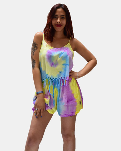 SKA Pastel Tie Dye Tassel Strappy Top Purple and Yellow