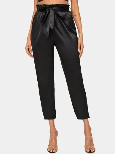 Elite Occasions Satin Feel Paperbag Waist Self Belted Carrot Pants