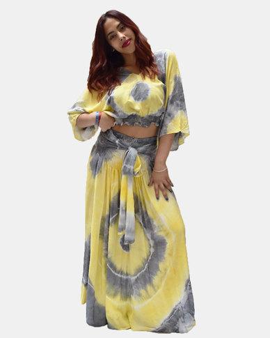 SKA Pastel Tie Dye Long Skirt Yellow and Grey